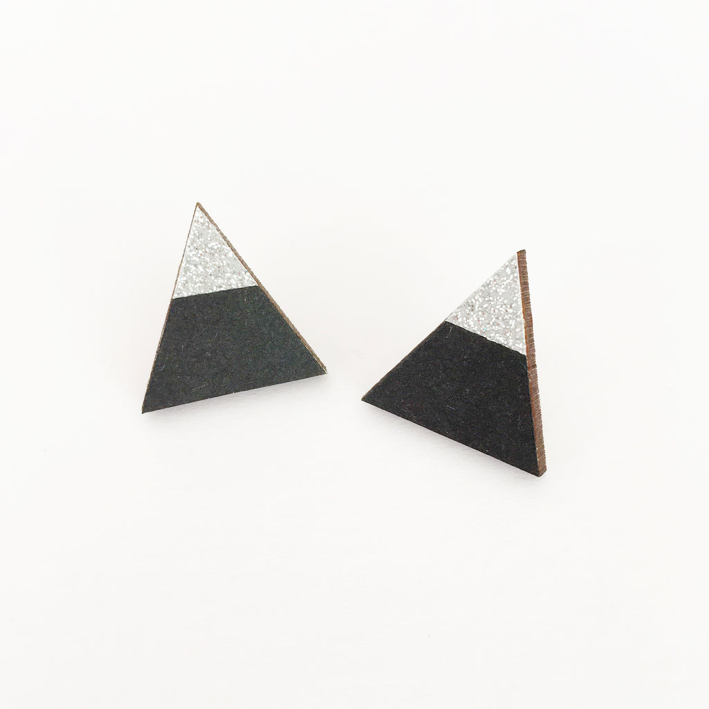 Black and Silver Sparkle Earrings