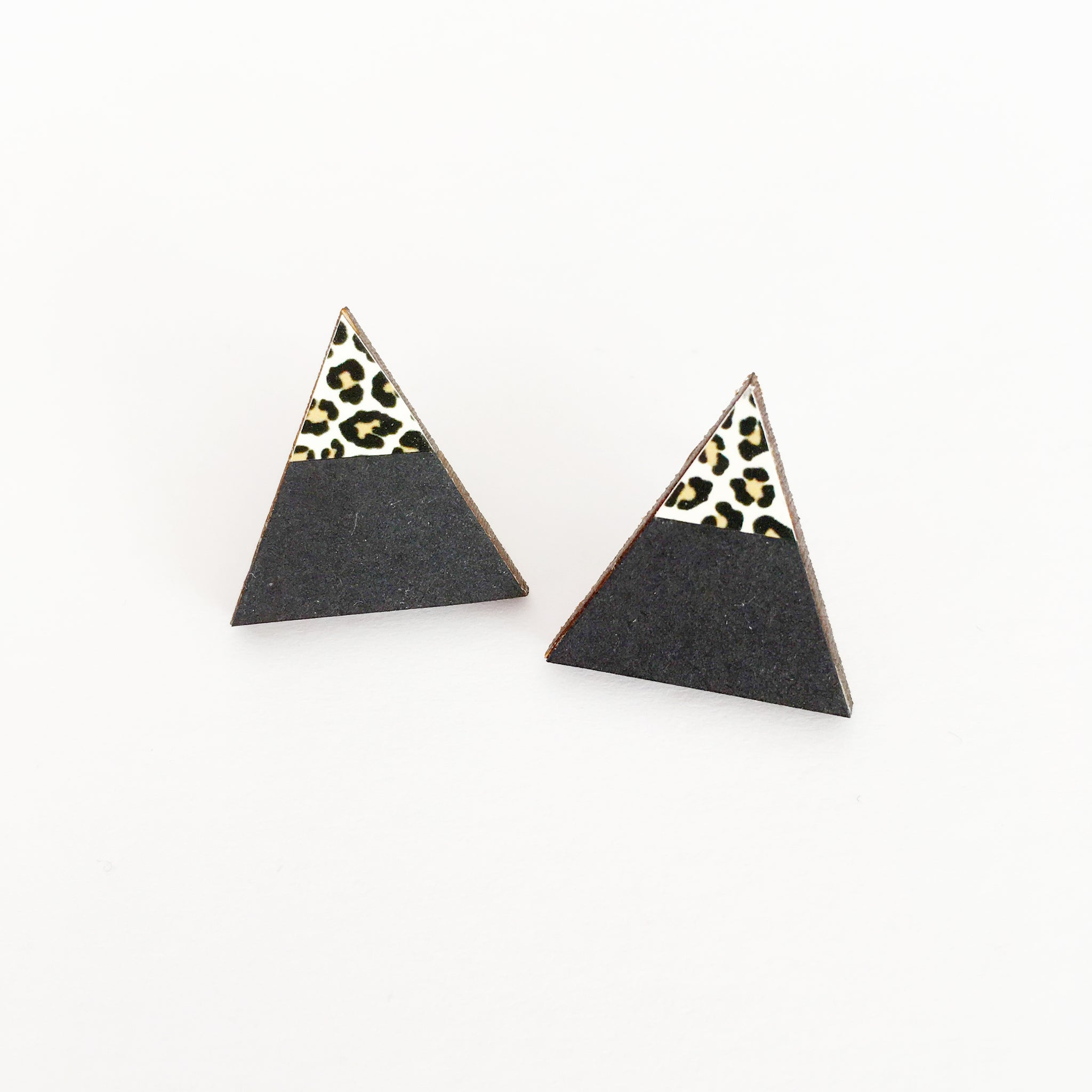 Black and Leopard Print Wood Earrings