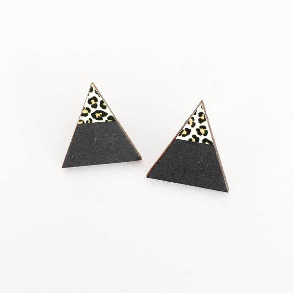 Black and Leopard Print Earrings