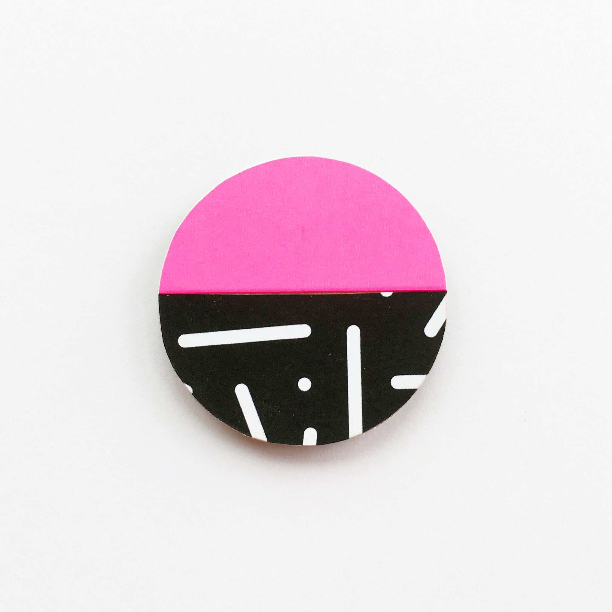 Neon Pink and Black Sprinkles Wood Brooch
