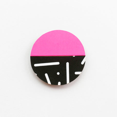 Neon Pink and Black Abstract Wood Brooch