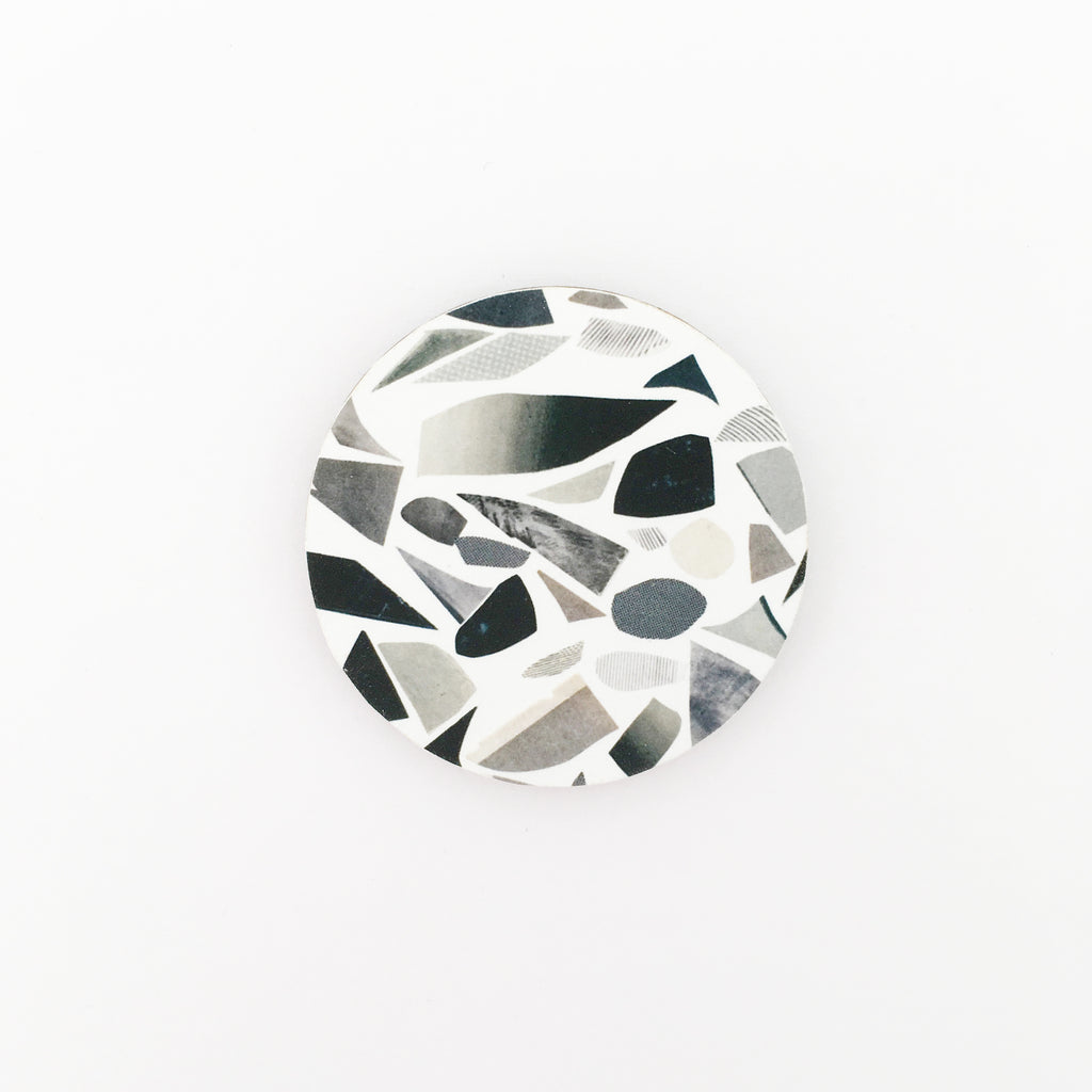 Black and White Terrazzo Wood Brooch