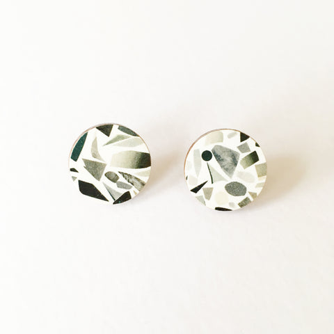 Grey Terrazzo Round Earrings