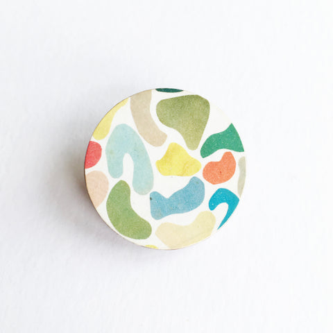 Colourful Abstract Wood Brooch