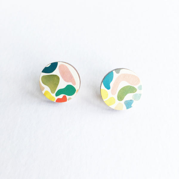 Colourful Abstract Round Wood Earrings