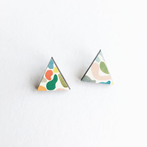 Modern Triangle Wood Earrings