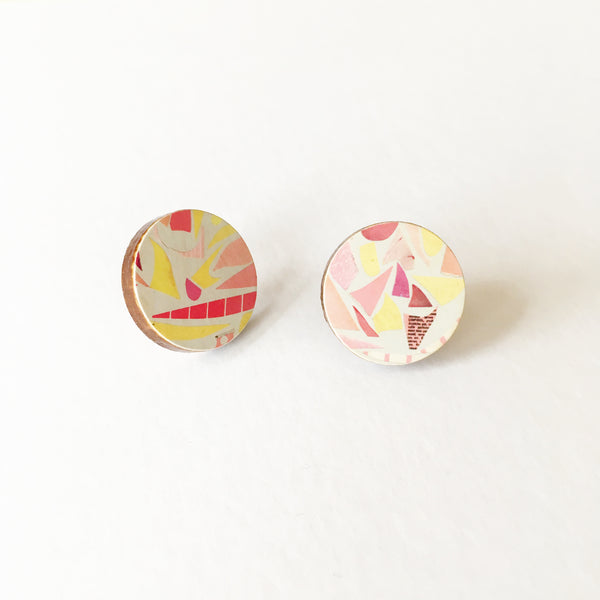 Pink and Yellow Terrazzo Earrings