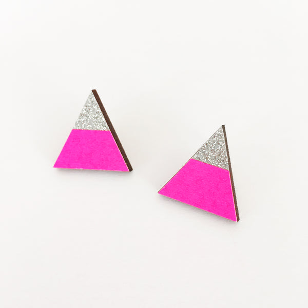 Neon Pink and Silver Sparkle Earrings
