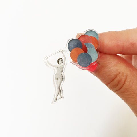 Triangle Brooch - Balloons