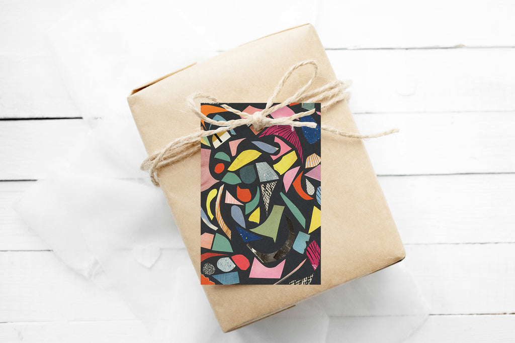 Gift Tags Pack of 12 With String - Terrazzo (Black)