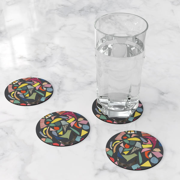Abstract Round Coasters - Black Terrazzo