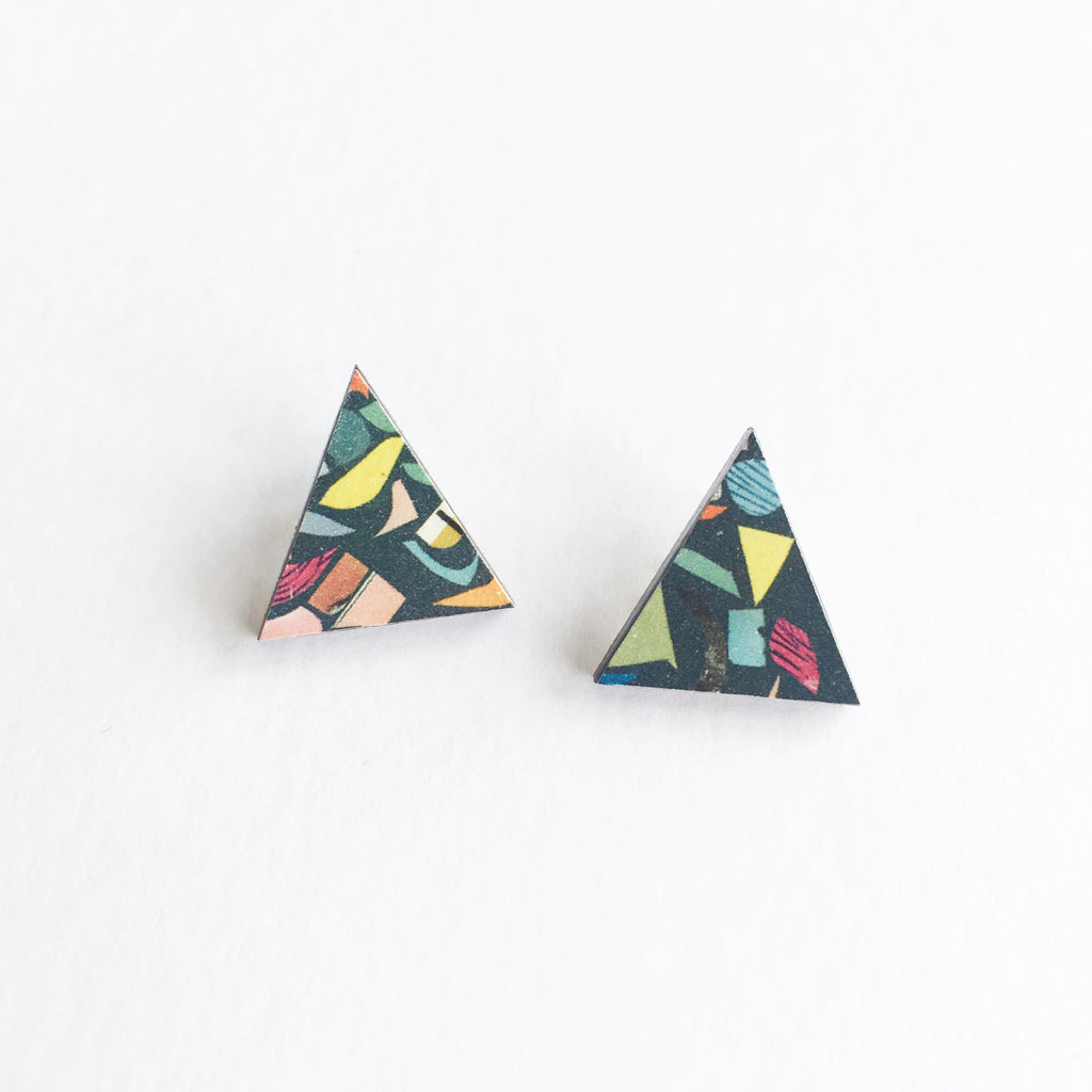 Black Terrazzo Triangle Earrings