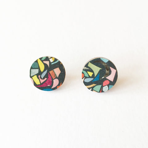 Black Terrazzo Earrings