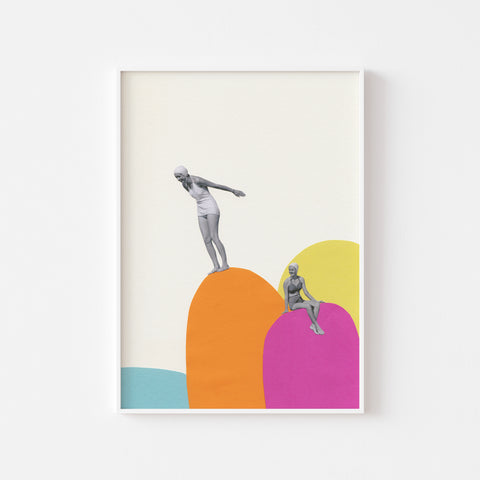 Cliff Diving - Art Print on Rag Paper