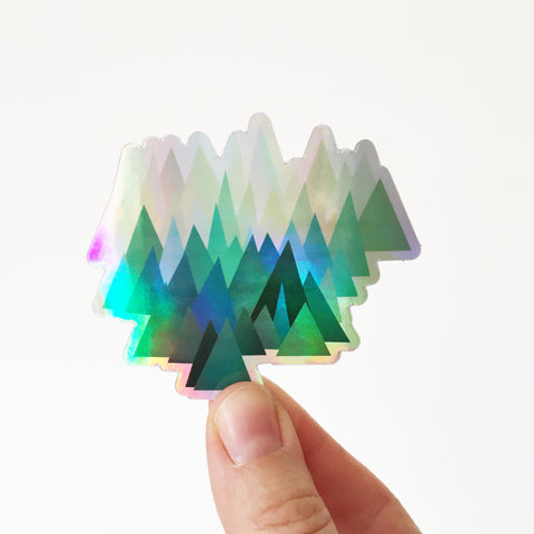Holographic Mountain Sticker - Cold Mountain