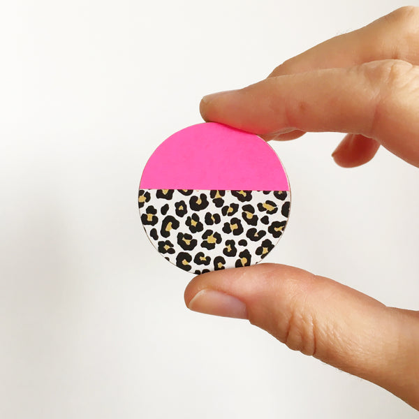Neon Pink and Leopard Print Wood Brooch