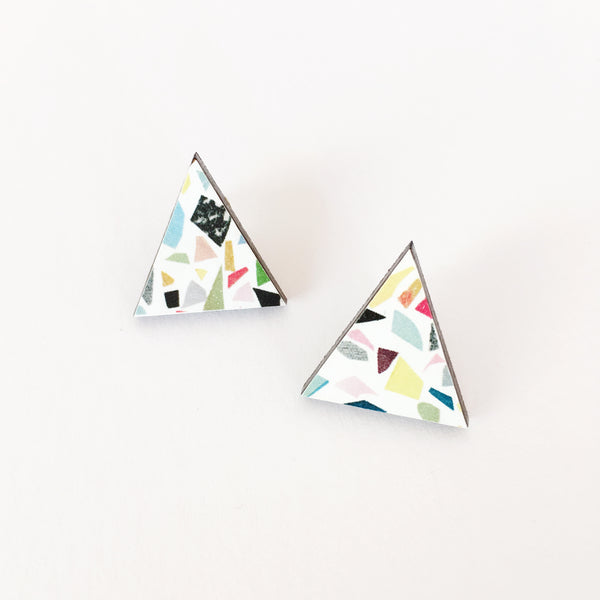 White Terrazzo Triangle Wood Earrings