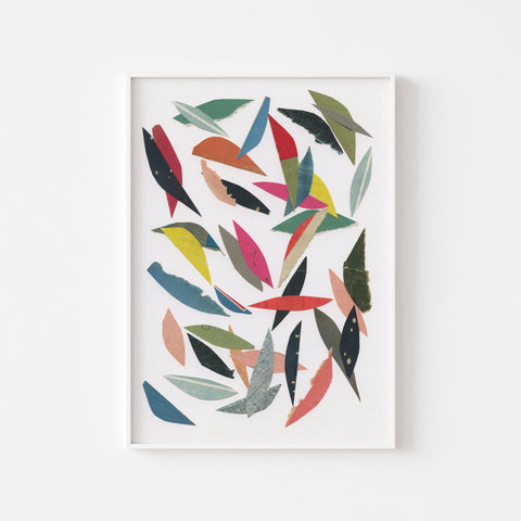 Falling Leaves (White) - Art Print on Rag Paper