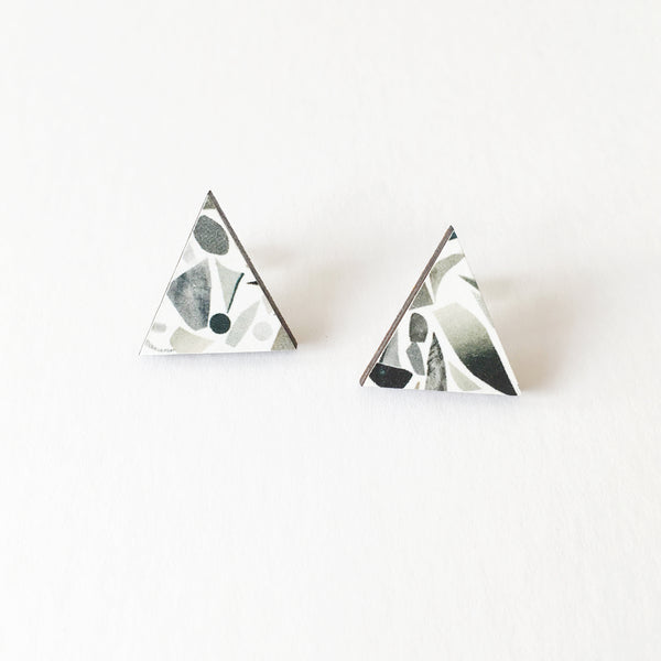 Black and White Terrazzo Wood Earrings