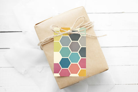 Gift Tags Pack of 12 With String - Honeycomb
