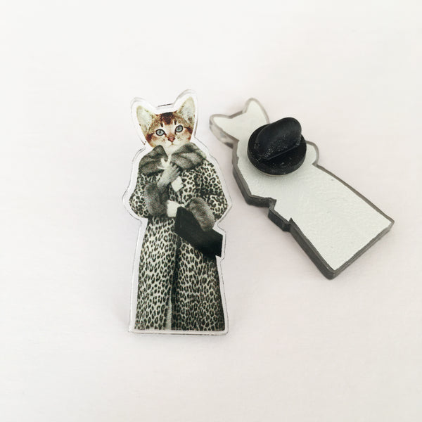 Acrylic Pin Badge - Kitten Dressed as Cat