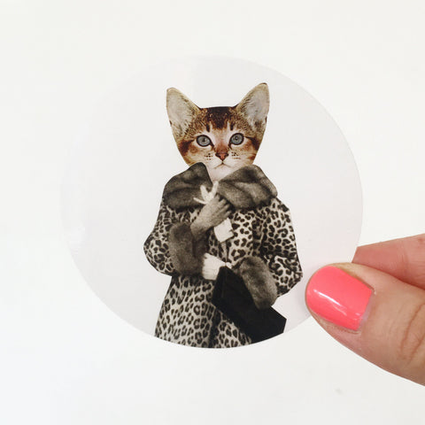 Cat Vinyl Sticker - Kitten Dressed as Cat