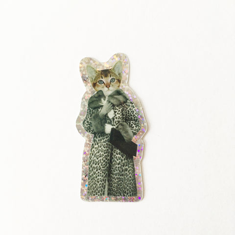 Glitter Cat Sticker - Kitten Dressed as Cat