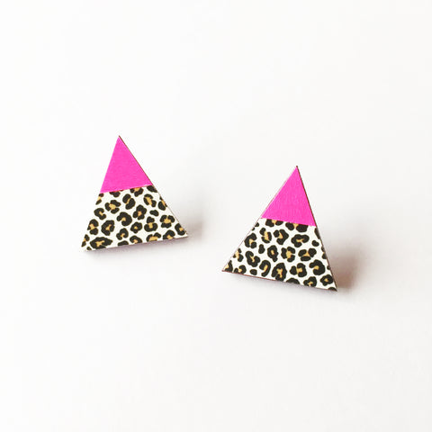 Neon Pink and Leopard Print Earrings