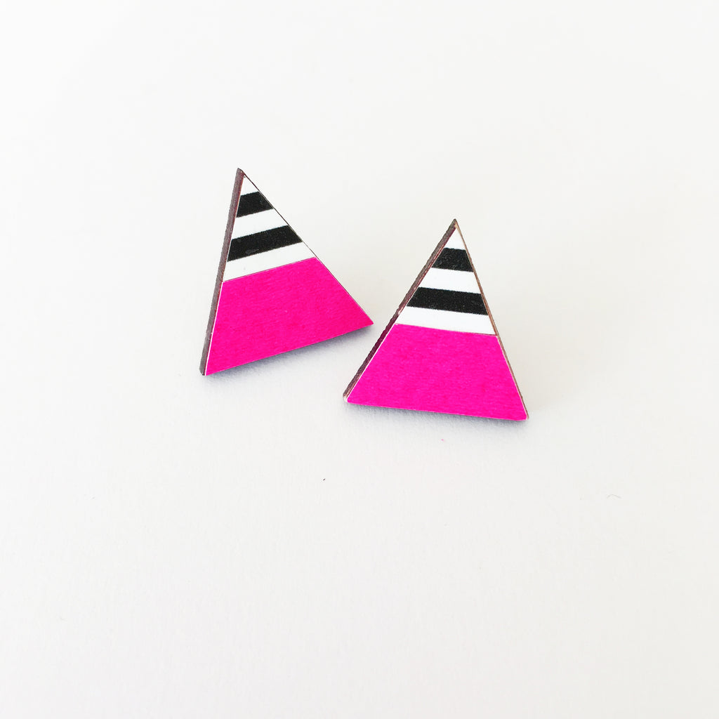 Neon Pink and Stripe Earrings