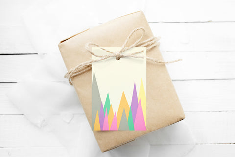 Gift Tags Pack of 12 With String - Pastel Peaks