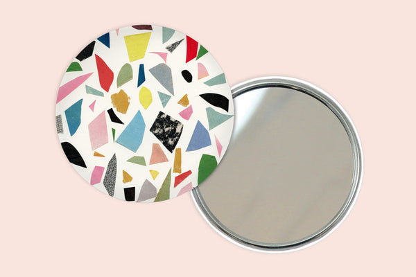 Abstract Pocket Mirror - White Terrazzo
