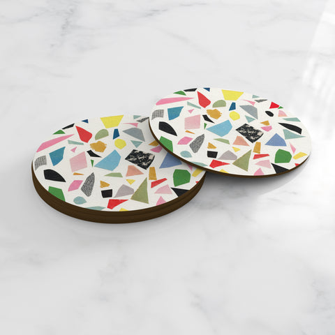 Abstract Round Coasters - Terrazzo