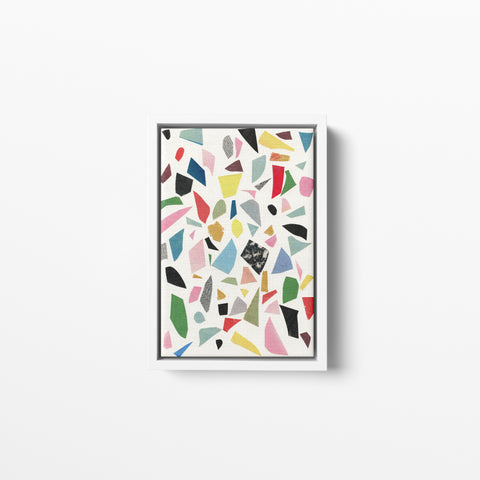 Float Framed Cotton Canvas - White Terrazzo
