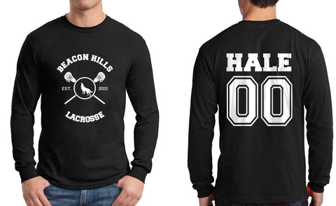 Hale 00 On BACK Beacon hills lacrosse On FRONT Long Sleeve T-shirt for Men - Meh. Geek - 1