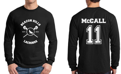McCall 11 White Ink On BACK Beacon hills lacrosse On FRONT Long Sleeve T-shirt for Men