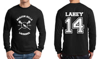 Lahey 14 White Ink On BACK Beacon hills lacrosse On FRONT Long Sleeve T-shirt for Men