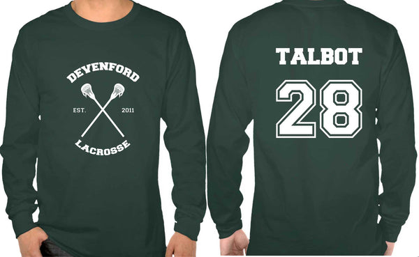 Talbot 28 On BACK Devenford Prep Lacrosse Wolf On FRONT Long Sleeve T-shirt for Men - Meh. Geek