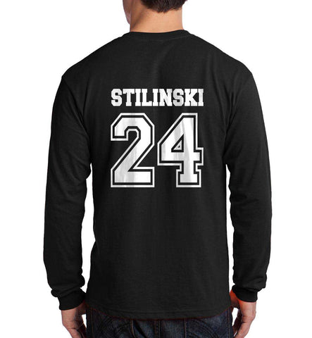 Stilinski 24 on Back Beacon Hills Lacrosse Wolf Logo Teen Wolf Long Sleeve T-shirt for Men - Meh. Geek