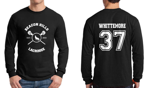 Whittemore 37 White Ink On BACK Beacon hills lacrosse On FRONT Long Sleeve T-shirt for Men