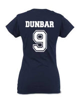 Dunbar 9 on BACK Beacon Hills Lacrosse Wolf On FRONT Women T-shirt