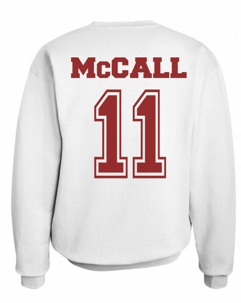 Mccall 11 on Back Maroon Ink Beacon Hills Lacrosse Wolf Crewneck Sweatshirt - Meh. Geek