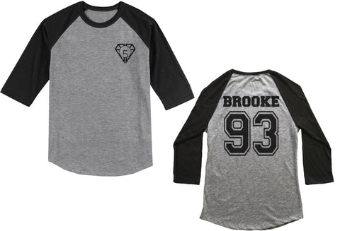 Brooke 93 on back, Fifth harmony pocket logo Unisex 3/4 Raglan Tee Sport Grey-Black