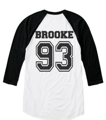 Brooke 93 on back, Fifth harmony pocket logo Unisex 3/4 Raglan Tee White-Black