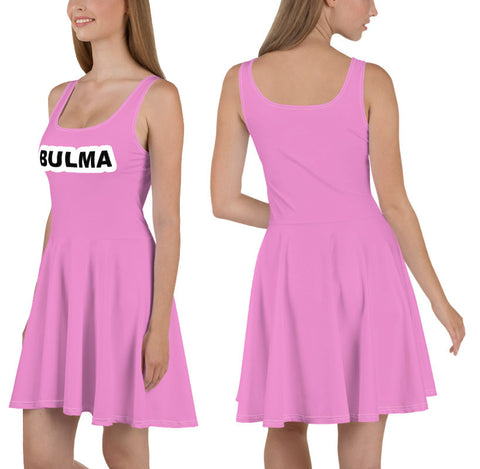 Bulma Pink All Over Print Skater Dress