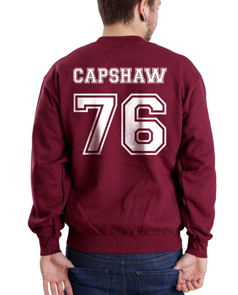 Capshaw 76 White Ink on Back Jessica Capshaw Greys Anatomy Unisex Crewneck Sweatshirt - Meh. Geek