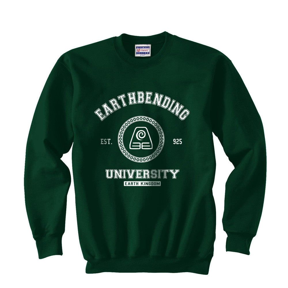 Earthbending University White Ink print Avatar Earth bender Unisex Crewneck Sweatshirt - Meh. Geek