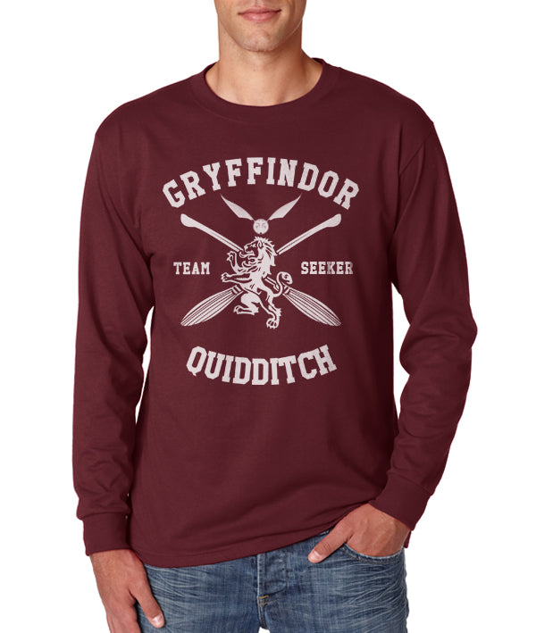 Gryffindor SEEKER Quidditch Team White Long Sleeve T-shirt for Men PA New