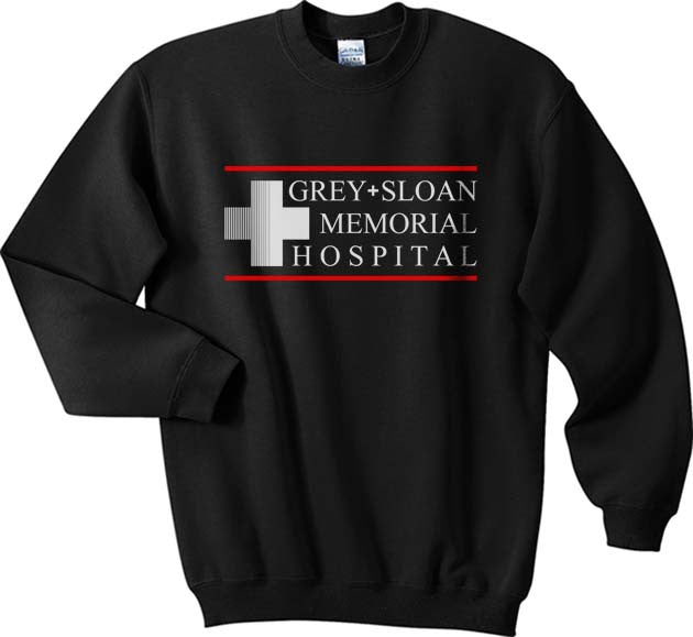 LOGO ONLY Grey + Sloan Memorial Hospital Grey's Anatomy Unisex Crewneck Sweatshirt - Meh. Geek - 3