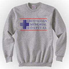 LOGO ONLY Grey + Sloan Memorial Hospital Grey's Anatomy Unisex Crewneck Sweatshirt - Meh. Geek - 4