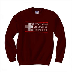 LOGO ONLY Grey + Sloan Memorial Hospital Grey's Anatomy Unisex Crewneck Sweatshirt - Meh. Geek - 5